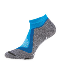 Grey/Blue Cycling Low Ankle Socks