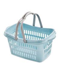 Blue Grid Walls Shopping Basket