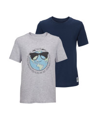 Kids' Grey & Navy Twin Pack T-Shirt