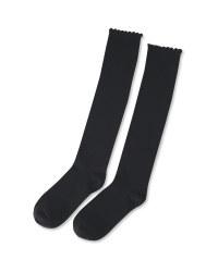 Girl's Black Knee High Socks 5 Pack