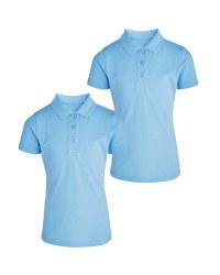 Girl's Blue Polo 2 Pack