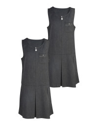 Grey Pleated Pinafore 2 Pack