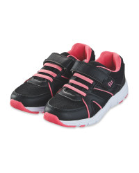 Kids' Black & Pink Trainers