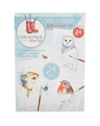A4 Red Boots Watercolour Line Pad