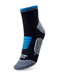 Ankle Length Cycling Socks - Black & Blue