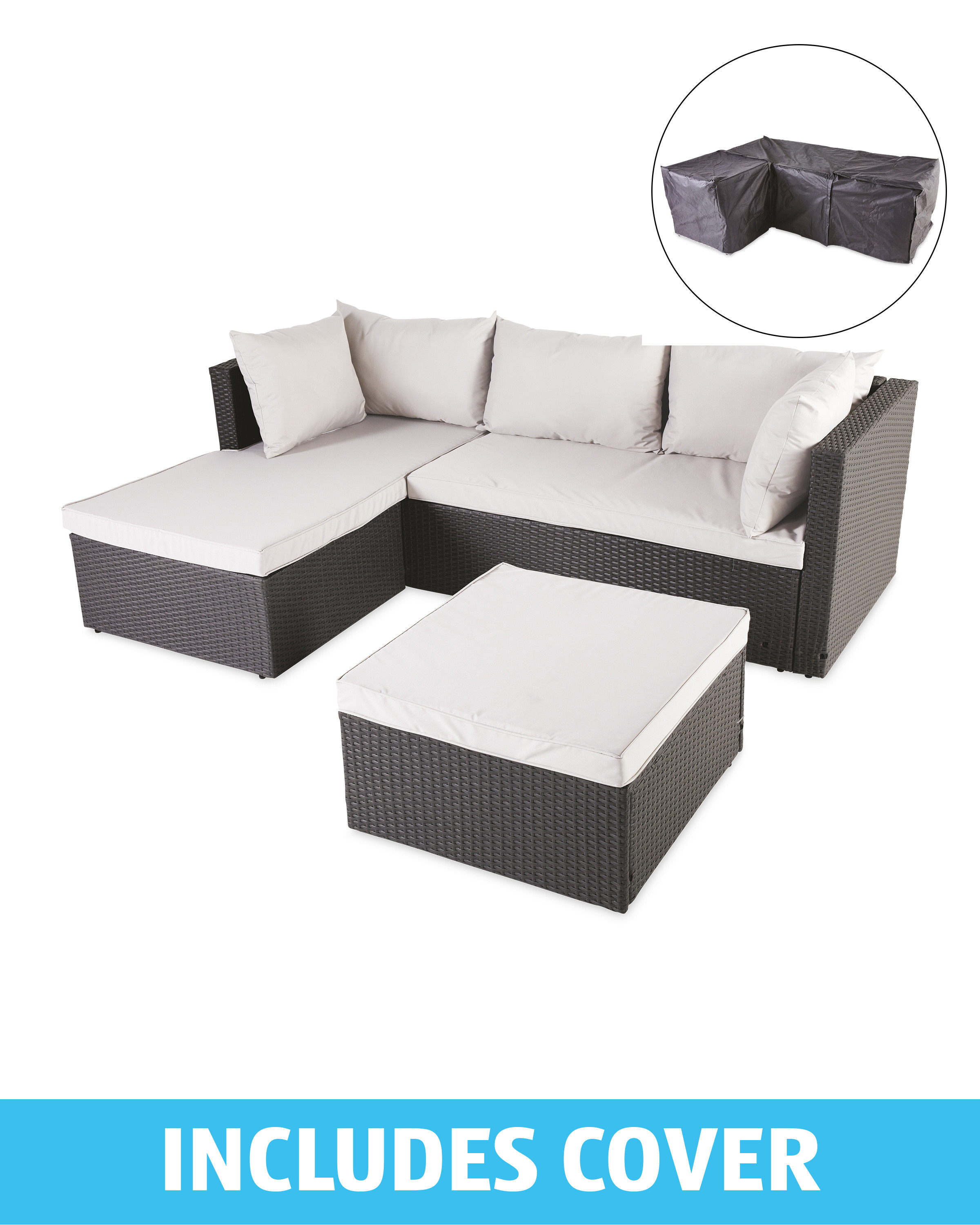 Anthracite Rattan Corner Sofa/Cover