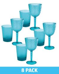 Aqua Wine Glass & Tumbler Set