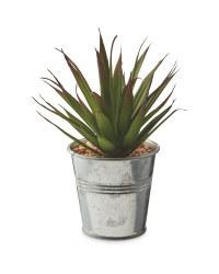 Artificial Agave Plant Metal Pot