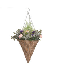 Artificial Cone Basket Pink/Purple