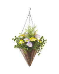 Artificial Flower Cone Basket - Yellow/Purple