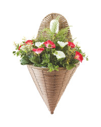 Artificial Flower Wall Basket - Red/White