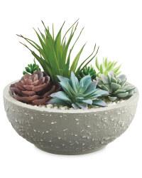 Artificial Succulent In Rustic Pot