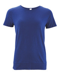 Avenue Ladies' Crochet Hem T-Shirt - Navy