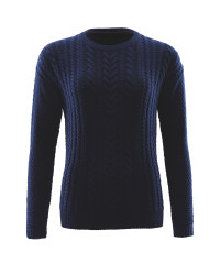 Avenue Ladies Cable Knit Jumper - Navy