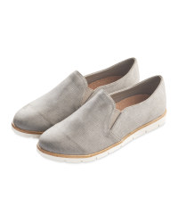 Avenue Ladies Casual Slip Ons - Grey Shimmer