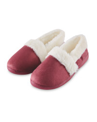 Avenue Ladies Fur Trim Slippers - Burgundy