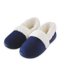 Avenue Ladies Fur Trim Slippers - Navy