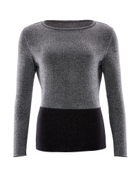 Avenue Ladies Metallic Jumper - Silver/Black