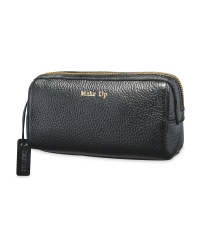 Avenue Long Leather Make Up Bag - Black