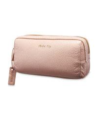 Avenue Long Leather Make Up Bag - Pink