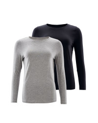 Avenue Long Sleeve T-Shirt 2 Pack - Grey/Black