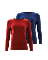 Avenue Long Sleeve T-Shirt 2 Pack - Red/Blue