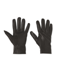 Avenue Men's Black Leather Gloves