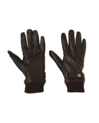 Avenue Men's Brown Ribbed Gloves