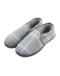 Avenue Men's Grey Check Slippers