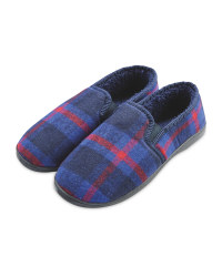 Avenue Men's Navy  Check Slippers