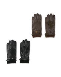 Avenue Men's Rib Cuff Leather Gloves