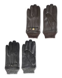 Avenue Men's Rib Cuff Leather Gloves