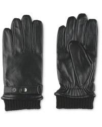 Avenue Men's Rib Cuff Leather Gloves - Black