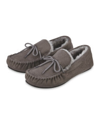 Avenue Men's Moccasin Slippers - Grey