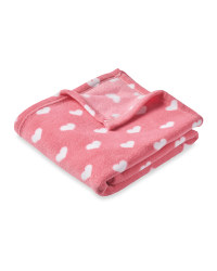 Baby Fleece Blanket Pink Hearts