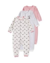 Pink Panda Footless Sleepsuit 3 Pack