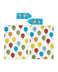 Balloon Gift Wrap & Tags 2-Pack