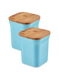Bamboo Medium Storage Canisters - Blue