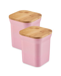 Bamboo Medium Storage Canisters - Coral