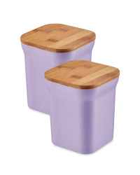 Bamboo Medium Storage Canisters - Purple