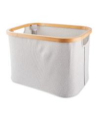 Bamboo Rim Storage Basket - Light Grey