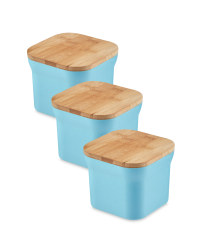 Bamboo Small Storage Canisters - Blue