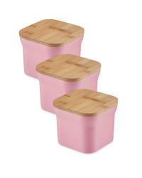 Bamboo Small Storage Canisters - Coral