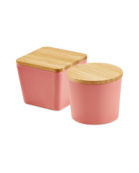 Bamboo Snack Containers Coral