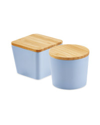 Bamboo Snack Containers Light Blue