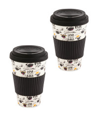 Pug Life Bamboo Travel Mug 2 Pack