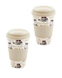 Coffee/Cat Bamboo Travel Mug 2 Pack
