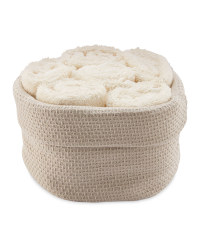 Basket & Face Cloth Set 6 Pack - Beige/Ivory