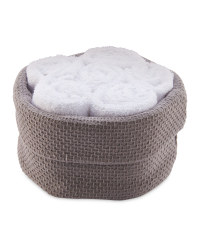 Basket & Face Cloth Set 6 Pack - Grey/White