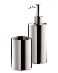 Bathroom Tumbler and Dispenser - Chrome